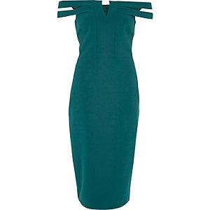 Robe mi-longue Bardot ajustée vert foncé