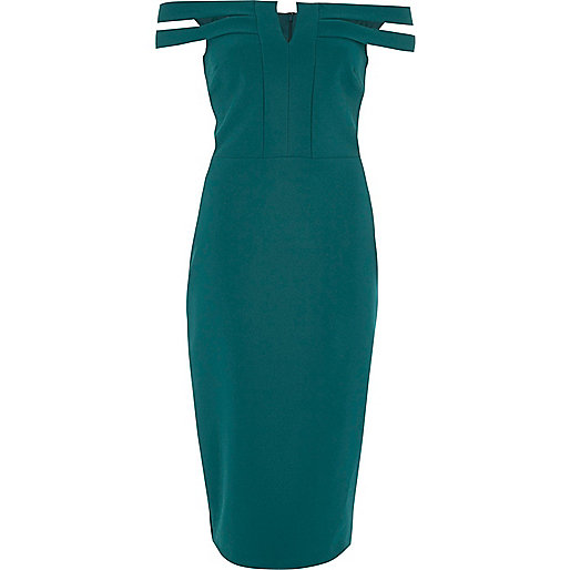 Dark green bardot bodycon midi dress