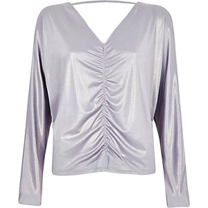 Purple metallic ruched batwing top