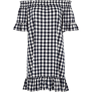 Blue gingham frill bardot swing dress