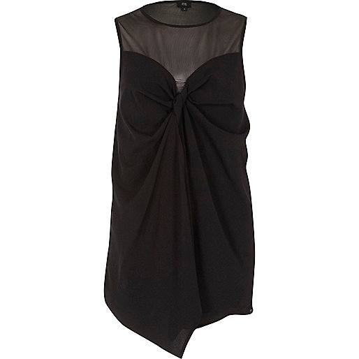 Black mesh bow front sleeveless top