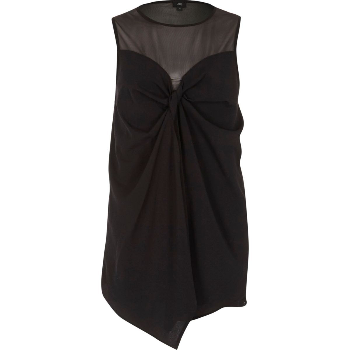 Black mesh bow front sleeveless top