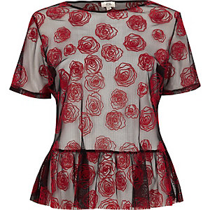 Red rose print mesh peplum T-shirt