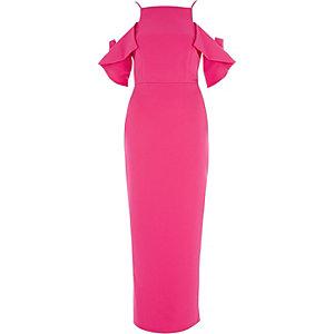Robe longue ajustée rose vif à volants