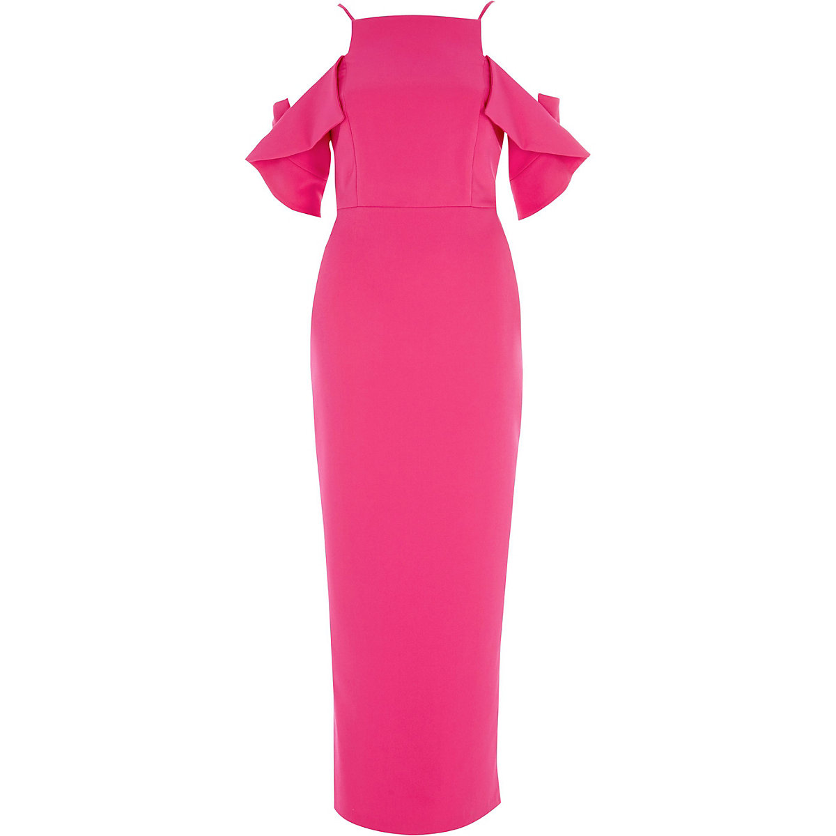 Bright pink frill sleeve bodycon maxi dress