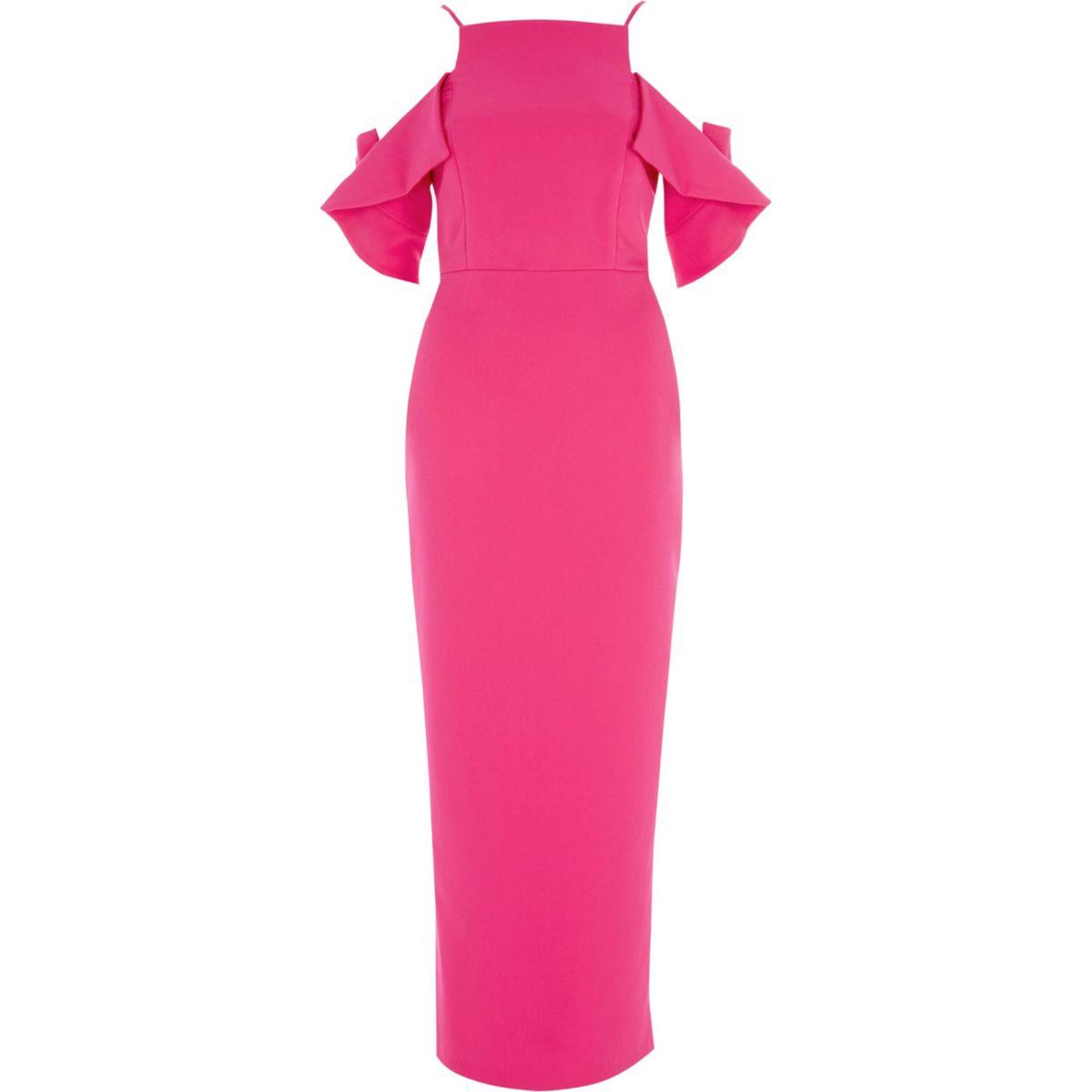 Bright pink frill sleeve bodycon maxi dress