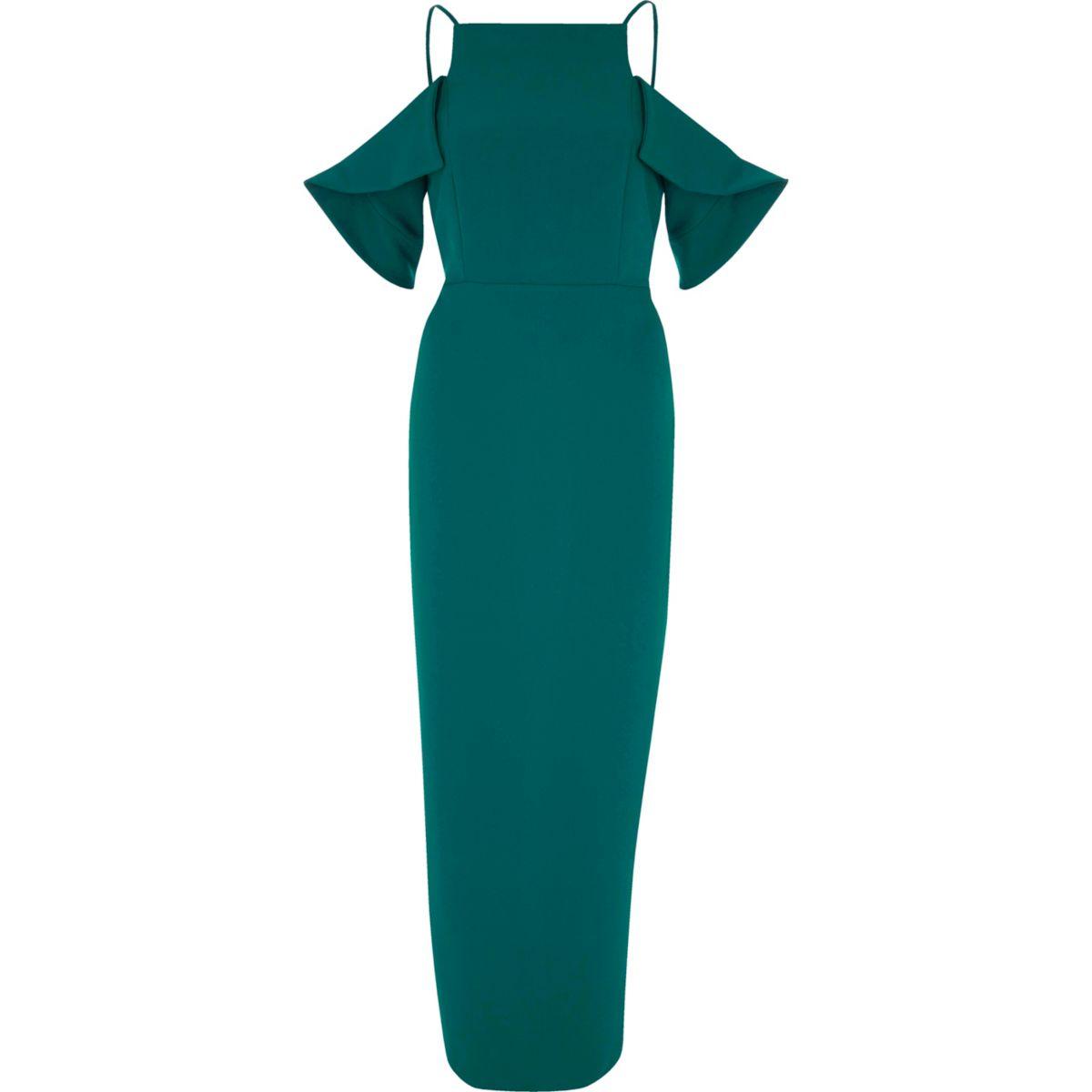 Dark green frill sleeve bodycon maxi dress