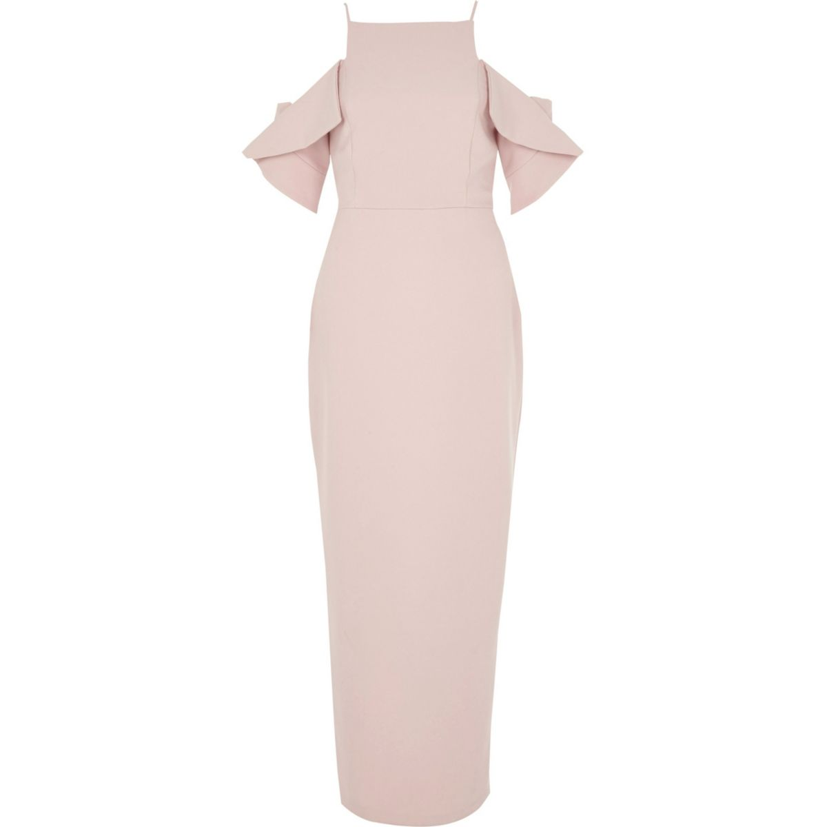Light pink frill sleeve bodycon maxi dress