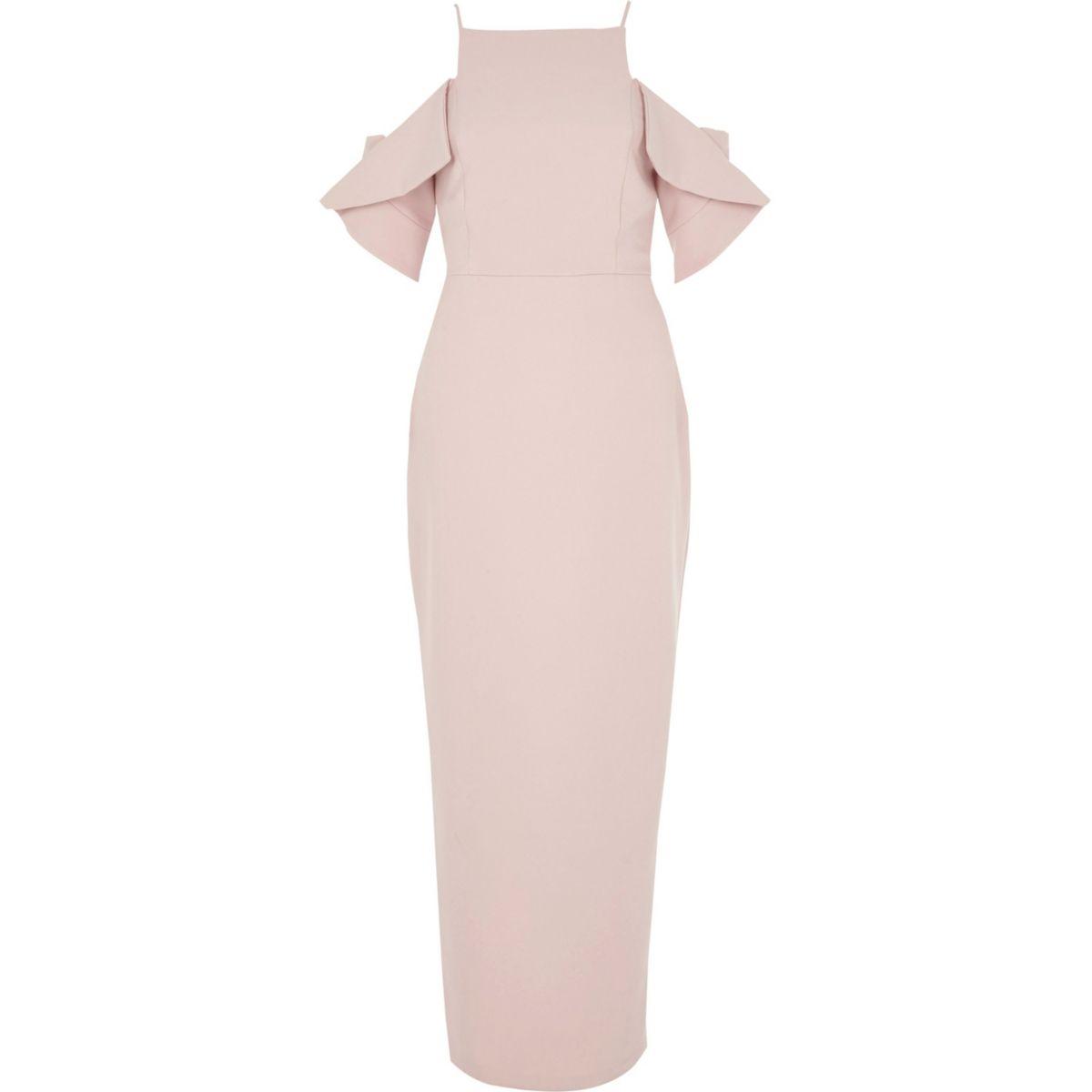 Light pink frill sleeve bodycon maxi dress