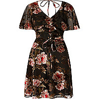 Black floral devore tea dress
