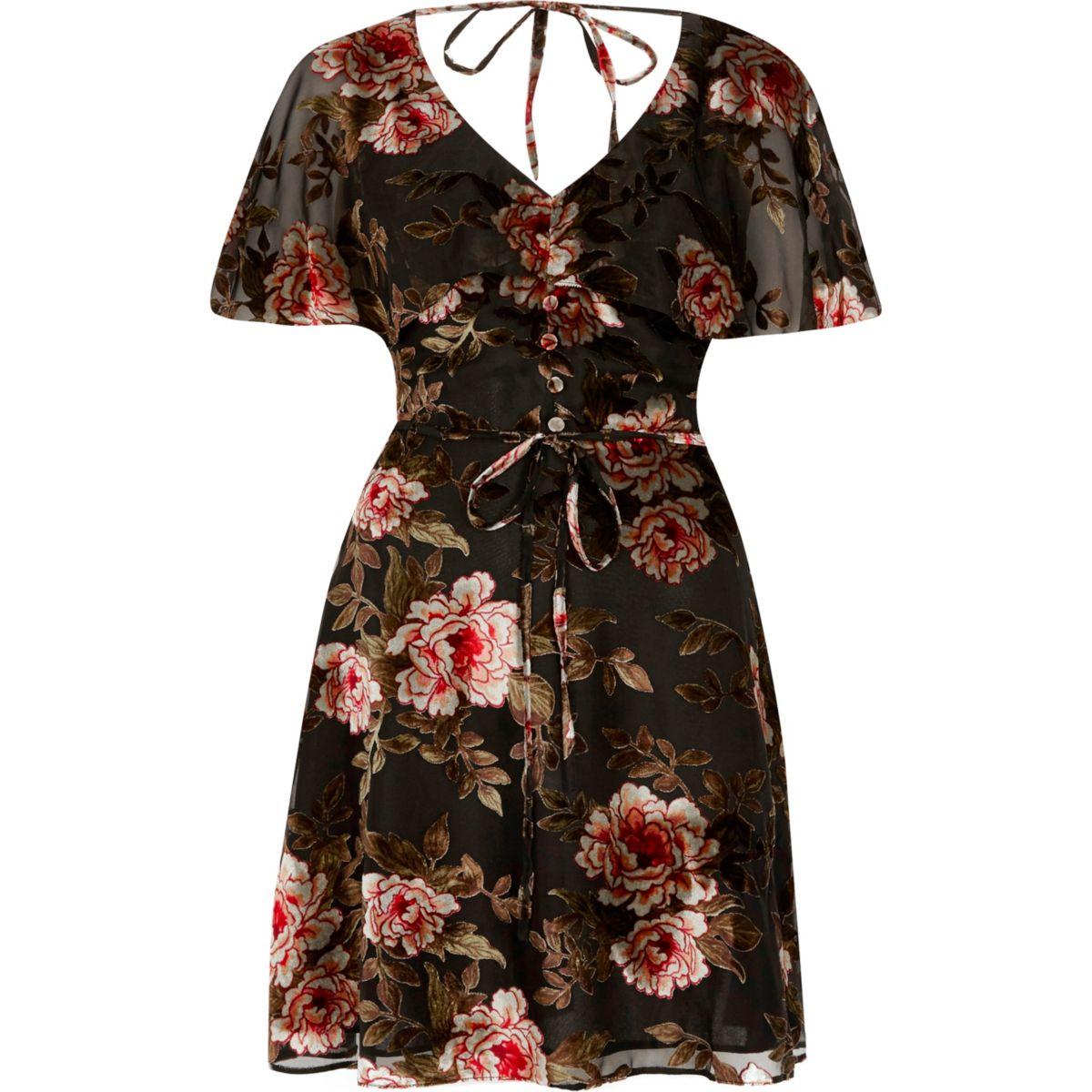 Black floral devore tea dress
