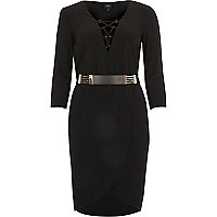 Black belted bodycon dress
