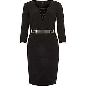 Schwarzes Bodycon-Kleid mit Gürtel