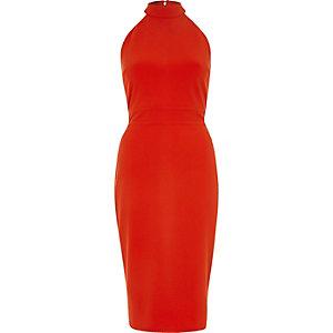 Rotes, hochgeschlossenes Bodycon-Kleid