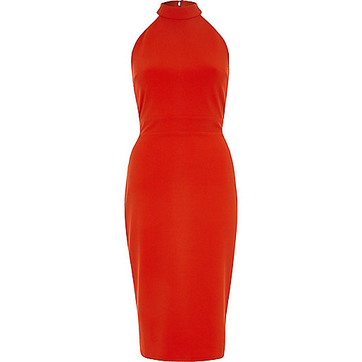Red tie back high neck bodycon dress