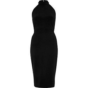 Black tie back high neck bodycon dress