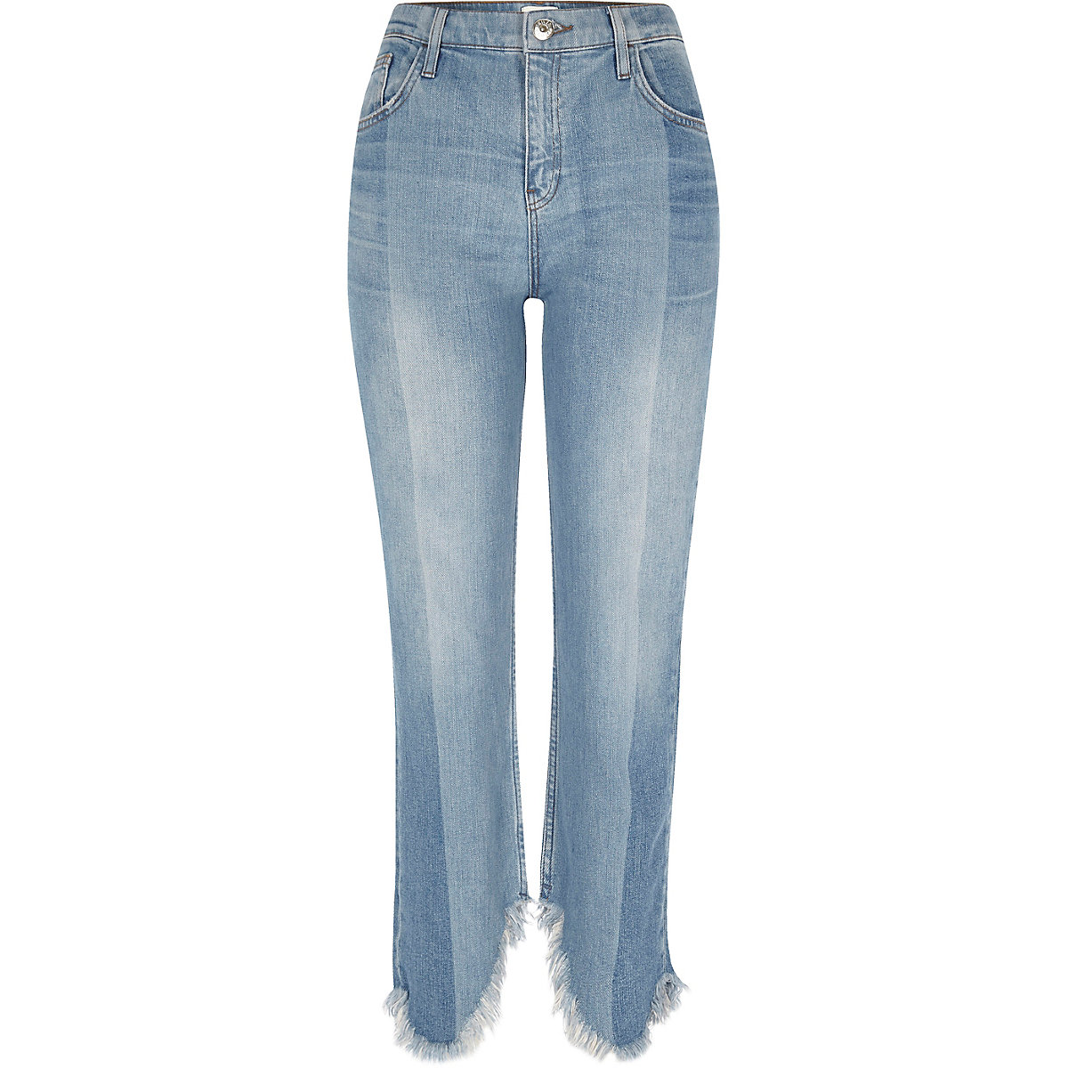 Light blue frayed straight cropped leg jeans