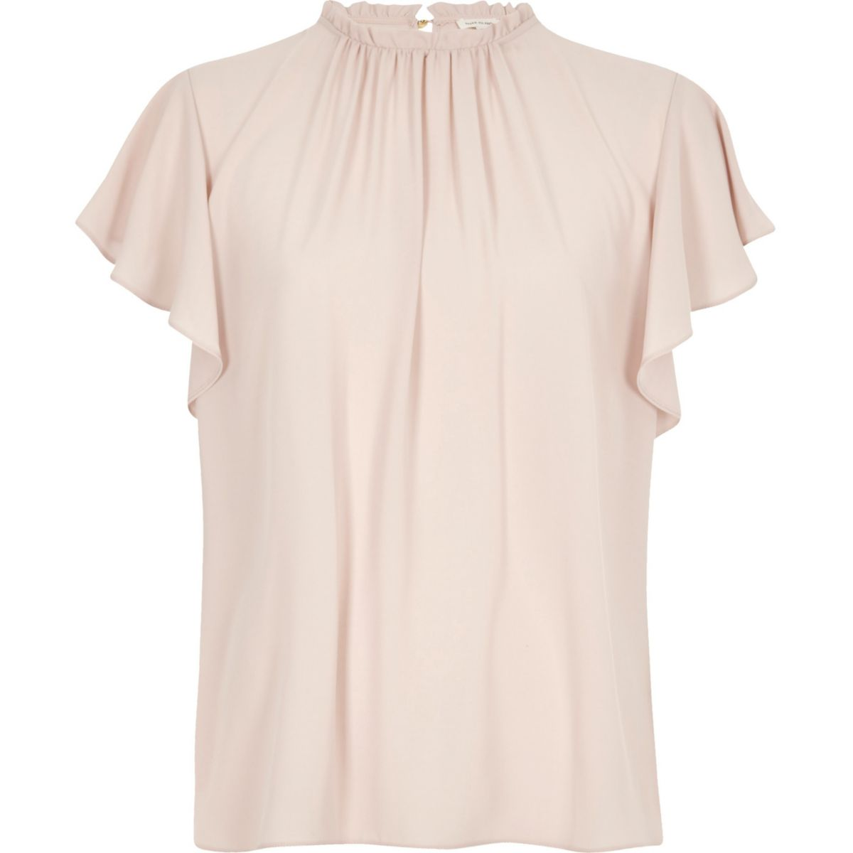 Light pink high neck frill sleeve top