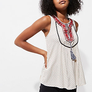 Cream embroidered tassel top
