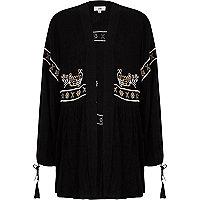 Zwarte geborduurde kimono