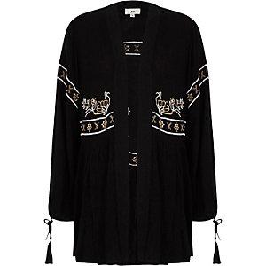 Black embroidered kimono