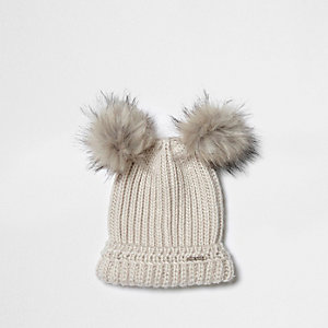 Cream double pom pom knit beanie hat