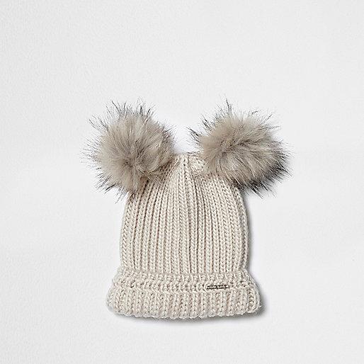 Cream double pom pom knit beanie hat