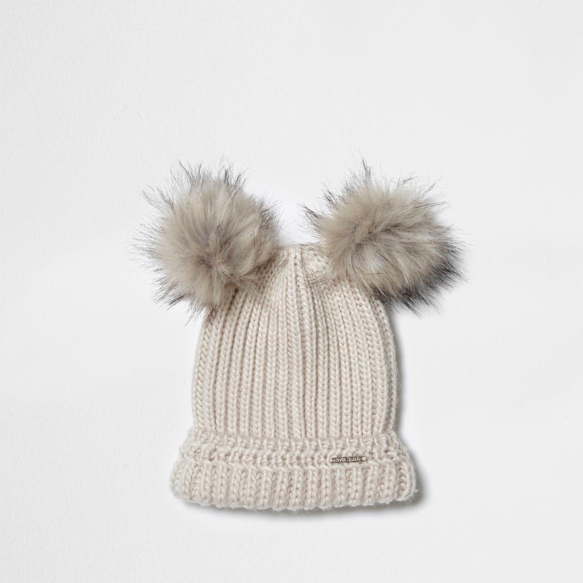 Cream double bobble knit beanie hat