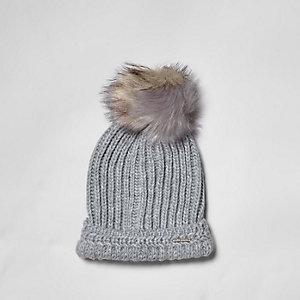 Grey split colour pom pom beanie hat