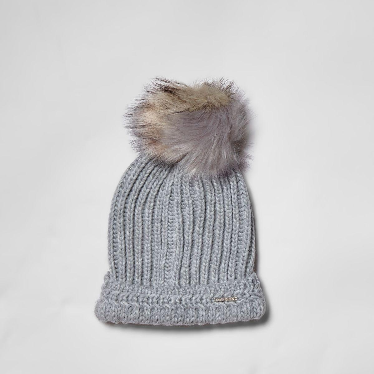 Grey split color faux fur bobble beanie hat