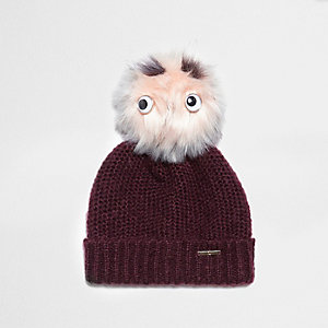 Dark red eyes faux fur bobble beanie hat