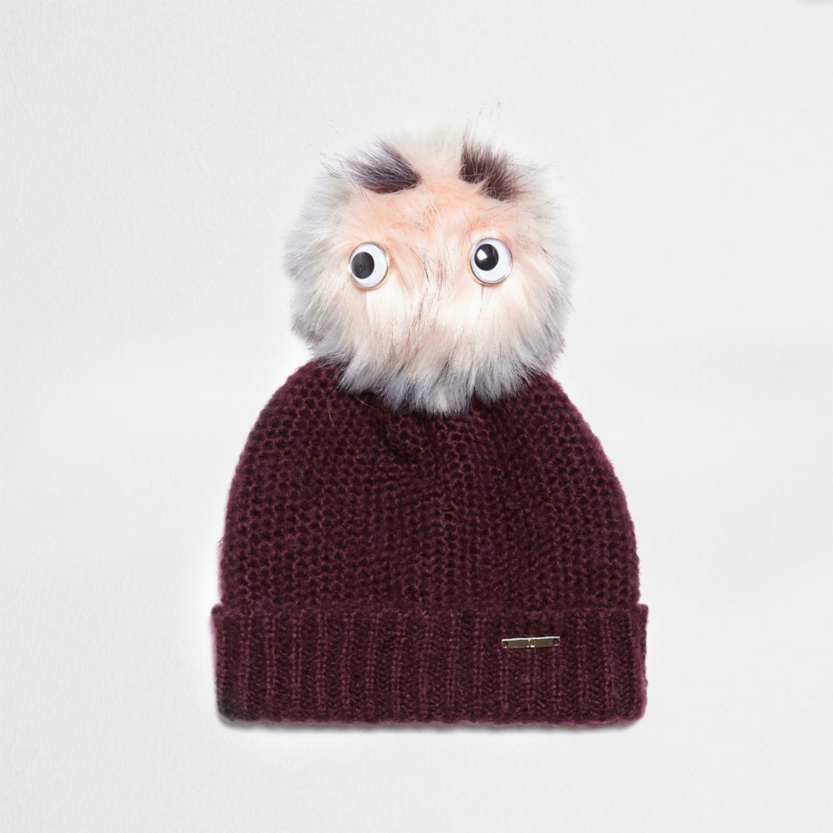 Dark red eyes faux fur bobble beanie hat