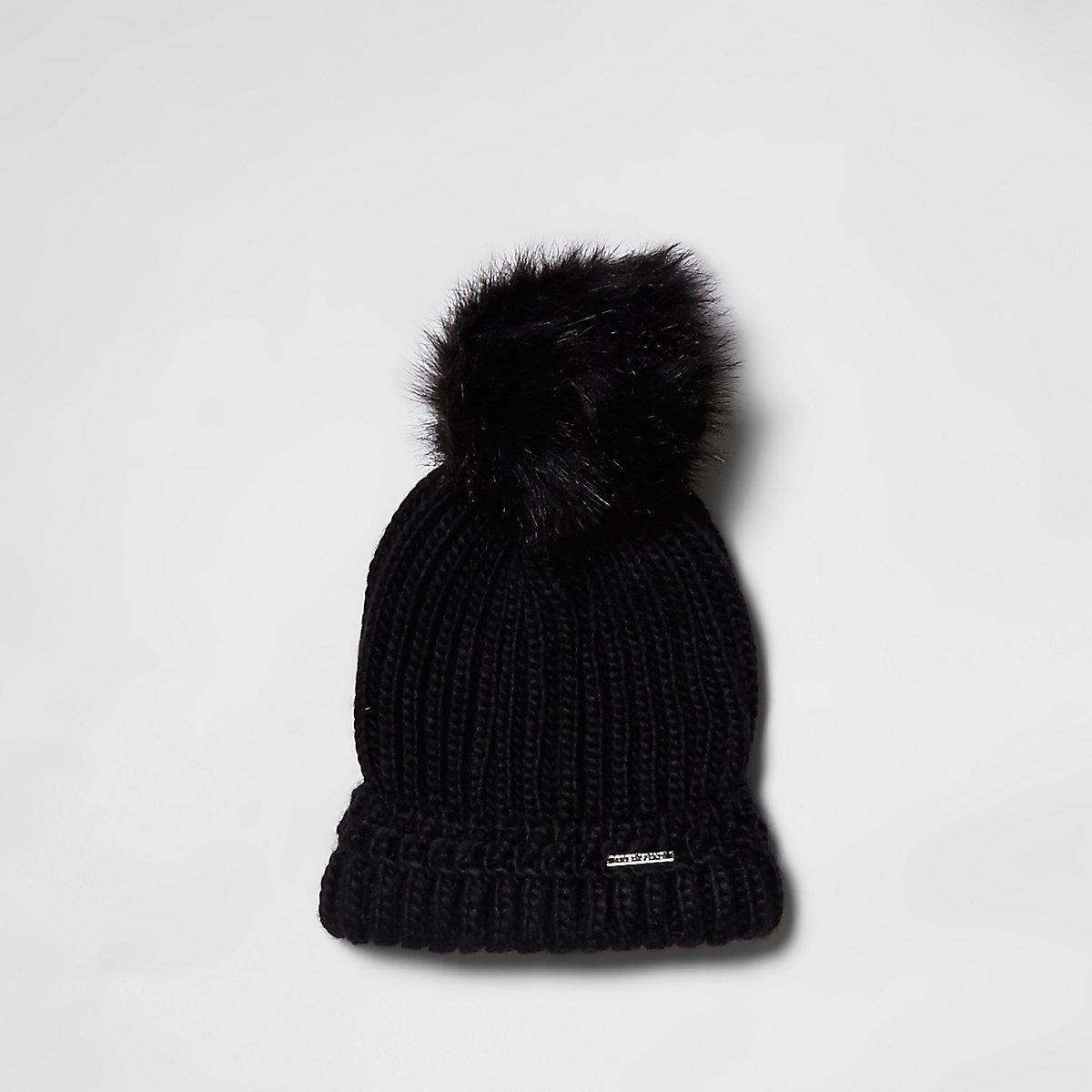 Black faux fur bobble beanie hat