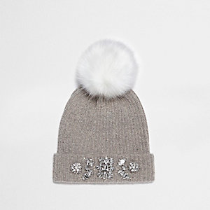 Grey pom pom top embellished beanie hat