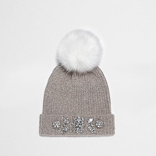 Grey pom pom top embellished beanie hat