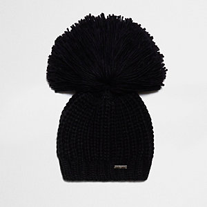 Black oversized bobble beanie hat