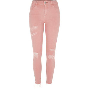 Amelie – Pinke Superskinny Jeans im Used-Look