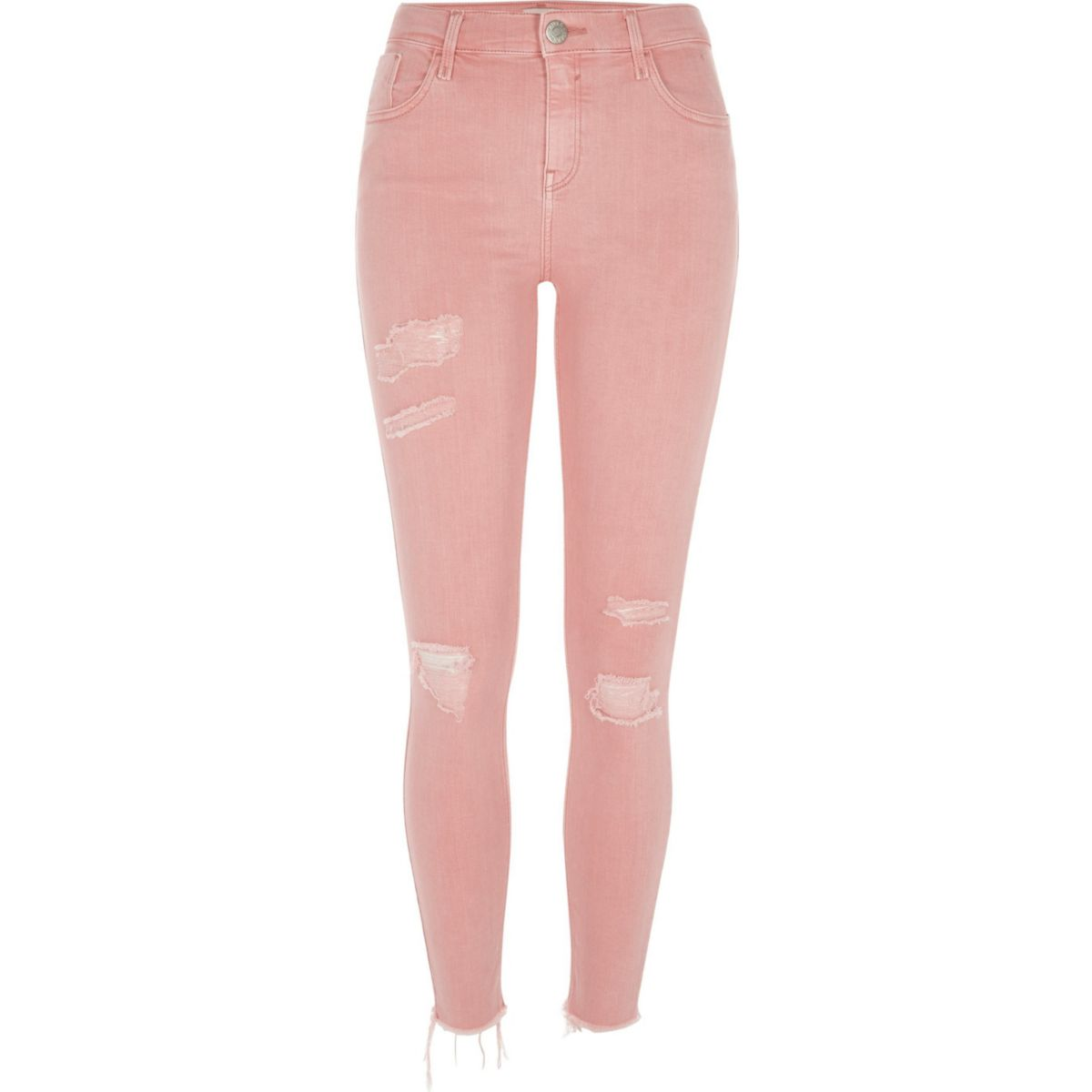 Pink Amelie ripped super skinny jeans