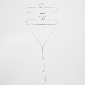 Rose gold tone mulit row drop necklace set