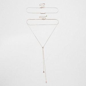 Parure collier multirang doré rosé avec pendentif