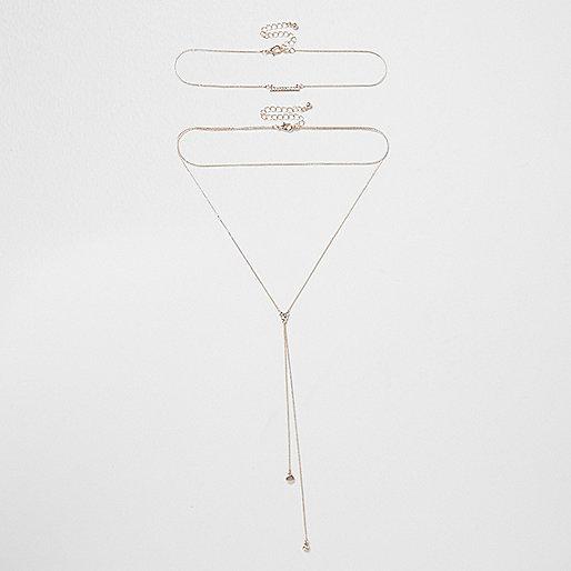 Rose gold tone mulit row drop necklace set