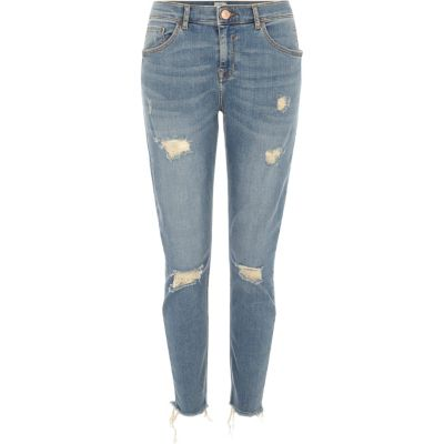 Alannah Middenblauwe ripped relaxte skinny jeans