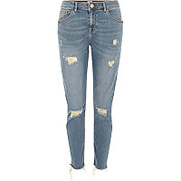 Alannah - Middenblauwe ripped relaxte skinny jeans