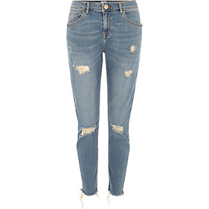 Mid blue Alannah ripped relaxed skinny jeans
