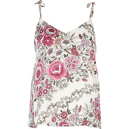 Pink floral bow shoulder cami top