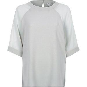 T-shirt en mousseline gris à manches raglan