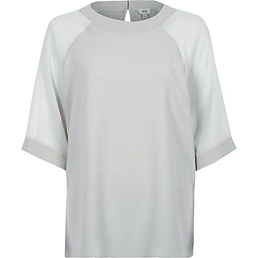 Grey chiffon raglan sleeve T-shirt