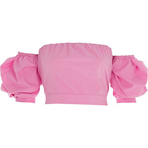 Pink puff sleeve tie back bardot crop top