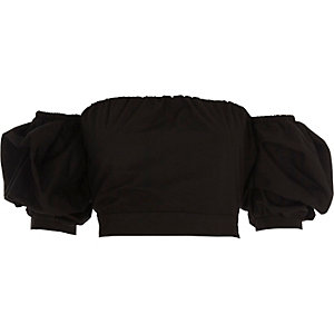 Black puff sleeve tie back bardot crop top