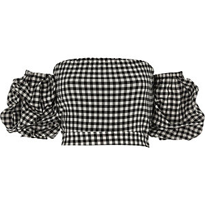 Black gingham puff sleeve bardot crop top